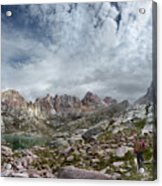 Hiker At Twin Lakes - Chicago Basin - Weminuche Wilderness - Colorado Acrylic Print