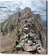 Hiker On Mt Eolus Catwalk - Chicago Basin - Weminuche Wilderness - Colorado Acrylic Print