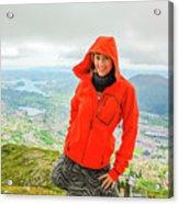 Hiker Woman In Norway Acrylic Print