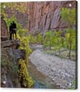 Hikers Zion National Park Acrylic Print