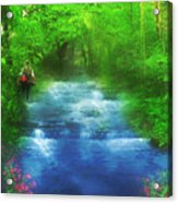 Hiking At The Rivers Edge Acrylic Print