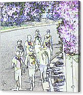 Hiking Down The Street I  Painterly Glowing Edges Invert  Acrylic Print