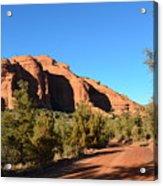 Hiking In Red Rocks In Arizona Acrylic Print