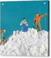 Hiking On Flour Snow Mountain Acrylic Print by Paul Ge