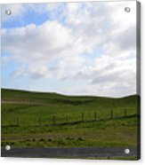 Hiking Trails, Rolling Hills And Grass Fields In Ireland Acrylic Print