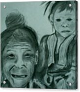 Hill Tribe Lady And Child Acrylic Print