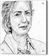 Hillary Clinton Pencil Portrait Acrylic Print by Rom Galicia
