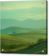 Hills In The Early Morning Light Digital Impressionist Art Acrylic Print