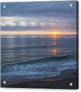 Hills Of Clouds With Ocean Sunset Acrylic Print