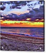 Hillsboro Beach Orange Sunset Hdr Acrylic Print