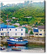 Hillside Along Harbor Near Angelo Fish Market In Puerto Montt-chile  Acrylic Print