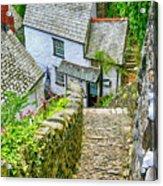 Hillside Cottages In Clovelly, Devon, Uk Acrylic Print