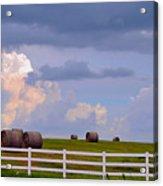 Hillside Hay Bales At Sunset Acrylic Print