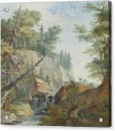 Hilly Landscape With A River And Figures In The Background Acrylic Print