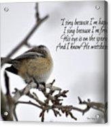 His Eye Is On The Sparrow Acrylic Print
