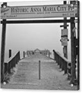 Historic Anna Maria City Pier In Fog Infrared 52 Acrylic Print