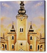 Historic Church And Town Square, Graphic Work From Painting. Acrylic Print