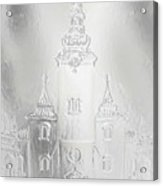 Historic Church And Town Square, Graphic Work From Painting. Metal Effect. Acrylic Print
