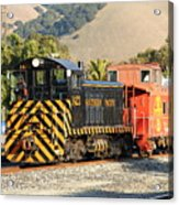 Historic Niles Trains In California . Old Southern Pacific Locomotive And Sante Fe Caboose . 7d10821 Acrylic Print by Wingsdomain Art and Photography