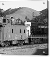 Historic Niles Trains In California . Southern Pacific Locomotive And Sante Fe Caboose.7d10843.bw Acrylic Print by Wingsdomain Art and Photography
