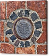 Historic Pavement Detail With Hungarian Town Seal Acrylic Print