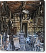 Historic Saddlery Shop - Montana Territory Acrylic Print by Daniel Hagerman