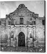 Historic San Antonio Alamo Mission - Black And White Edition Acrylic Print