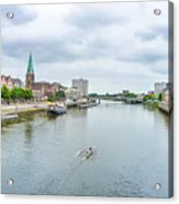 Historic Town Of Bremen And Weser River Acrylic Print