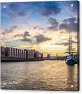 Historic Town Of Bremen With Weser River Acrylic Print
