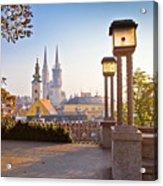 Historic Zagreb Towers Sunrise View Acrylic Print