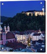 Hlltop Ljubljana Castle Overlooking The Old Town Of Ljubljana Ca Acrylic Print