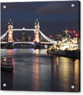 Hms Belfast And Tower Bridge Acrylic Print