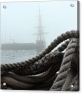 Hms Bounty In The Eastport Fog Acrylic Print
