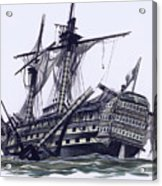 Hms Victory After The Battle Of Trafalgar, With Mizzen Topmast Shot Away Acrylic Print