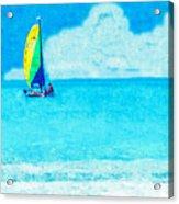 Hobie Sailing Off Lido Beach Coast Acrylic Print