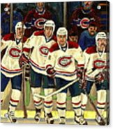 Hockey Art The Habs Fab Four Acrylic Print by Carole Spandau