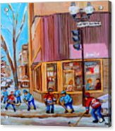 Hockey At Beautys Deli Acrylic Print by Carole Spandau