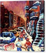 Hockey Paintings Of Montreal St Urbain Street Winterscene Acrylic Print