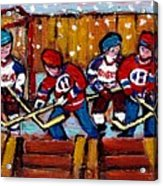 Hockey Rink Paintings New York Rangers Vs Habs Original Six Teams Hockey Winter Scene Carole Spandau Acrylic Print