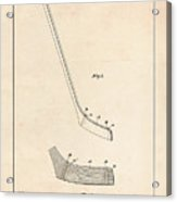 Hockey Stick Patent - Patent Drawing For The 1901 W. Dean Hockey Stick Acrylic Print