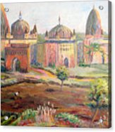Hoeing By Hand In Orchha India Acrylic Print