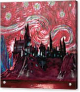 Hogwarts Starry Night In Red Acrylic Print