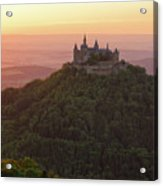 Hohenzollern Castle At Sunset Acrylic Print by Yair Karelic