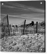 Holding Back The Dunes In Black And White Acrylic Print