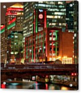 Holiday Colors Along Chicago River Acrylic Print