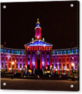 Holiday Light Panorama Of The Denver City And County Building Acrylic Print