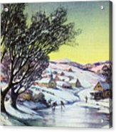 Holiday Winter Snow Scene Children Skating On Frozen Pond Acrylic Print