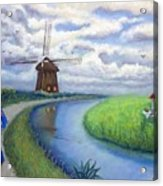 Holland Windmill Bike Path Acrylic Print
