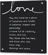 Home Blessing Black And White- Art By Linda Woods Acrylic Print