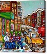Home Town Painting St Viateur Bagel Street Scene Coca Cola Truck Montreal 375 Carole Spandau Art     Acrylic Print